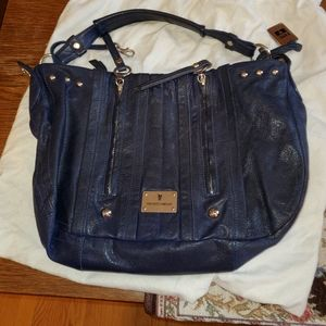 FRYE BLUE LEATHER HOBO BAG